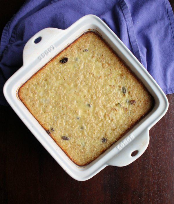 pan of freshly baked rice pudding fresh from the oven.