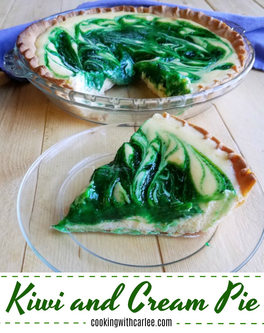 A kiwi filling is swirled in a cream cheese base for a one of a kind pie experience. If you've never had kiwi and cream pie, you don't know what you're missing.