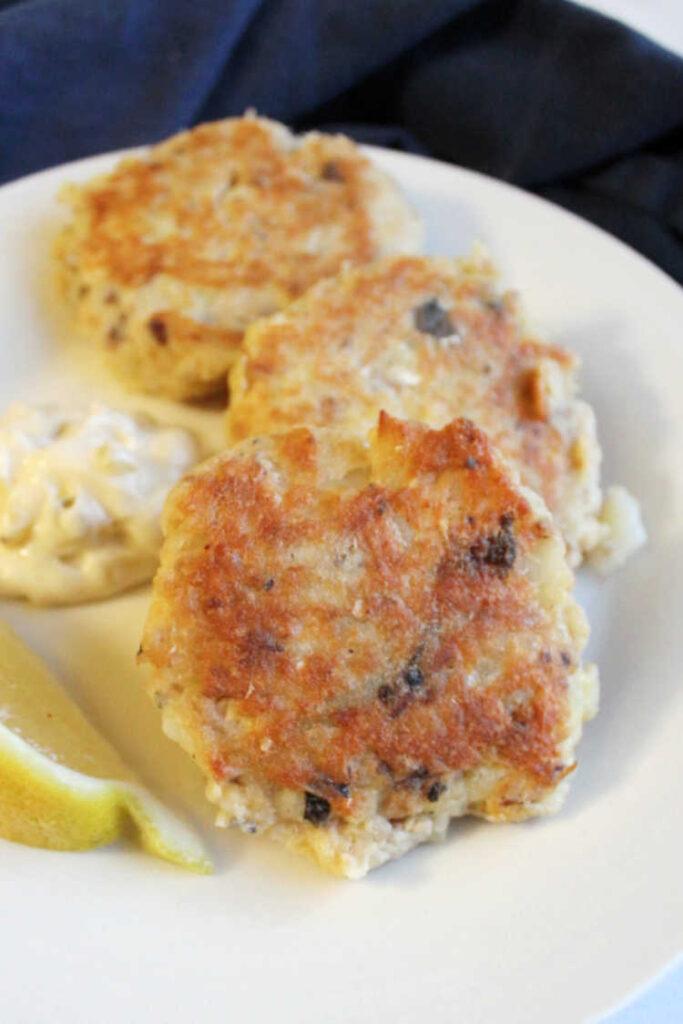 close up of salmon potato cakes ready to eat