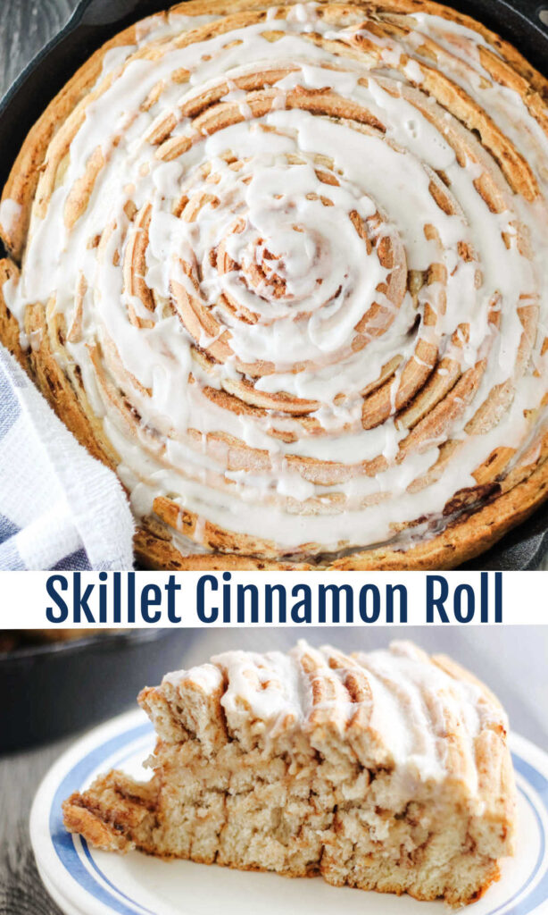 A giant skillet sized cinnamon roll is a perfect way to serve breakfast or brunch.  Cut a small sliver or a big slice and you still get all of the layers in whatever serving size you choose.