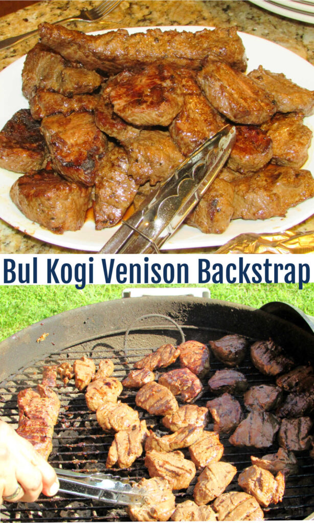 This Korean BBQ style venison backstrap is our absolute favorite way to enjoy venison. You can also use the marinade on steaks or thinly sliced beef for a more traditional take.