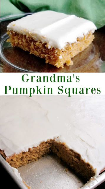 Soft pumpkin cake topped with cream cheese frosting. These bars are a fall must make.  They are a perfect dessert for a crowd.  You can whip up the batter in just a few minutes.  The cream cheese frosting makes them creamy and irresistible. Pumpkin bars are the perfect autumnal treat!