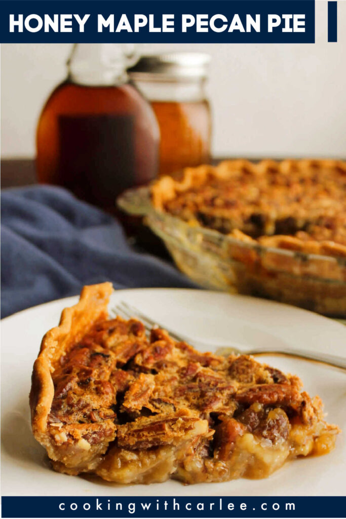 This pecan pie is kind of like the one you grew up with, but it is also so very different. The texture is the same, but it is sweetened with honey and maple syrup instead of corn syrup for a deep and naturally sweetened flavor!