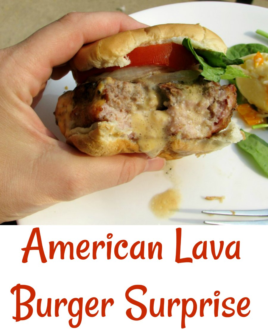 American lava burger surprises are part pork, part burger and stuffed with American cheese for an out of this world burger experience.
