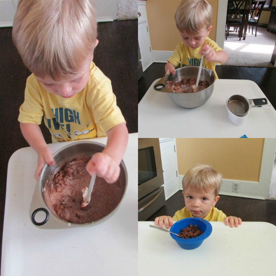 Collage of images of small child making chocolate oatmeal batter.