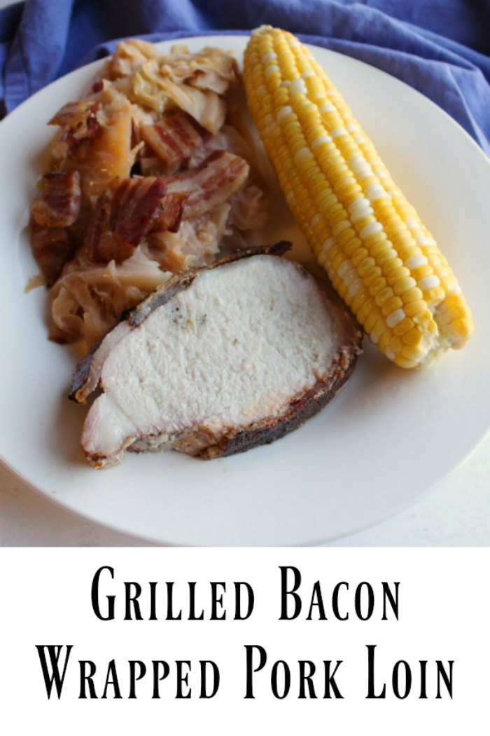 Juicy pork loin wrapped in bacon and cooked on the grill is loaded with flavor. It is a great way to feed your family or a crowd. Make a whole loin or part of one and enjoy a fabulous dinner!