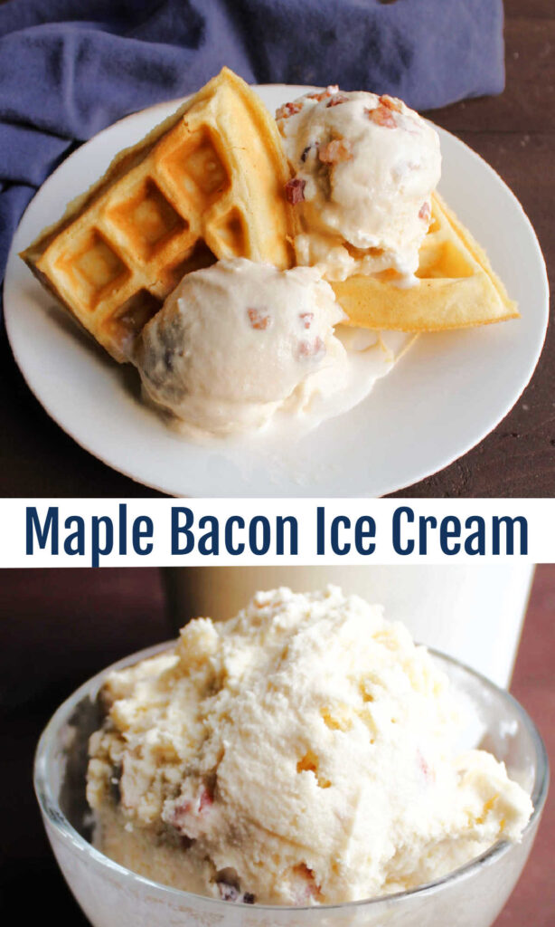 Fresh sweet maple syrup and salty savory bacon come together in this unique ice cream recipe. The combination really works to make a tasty frozen confection.