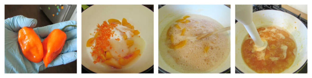 Step by step pictures of turning hot peppers and peaches into jelly.