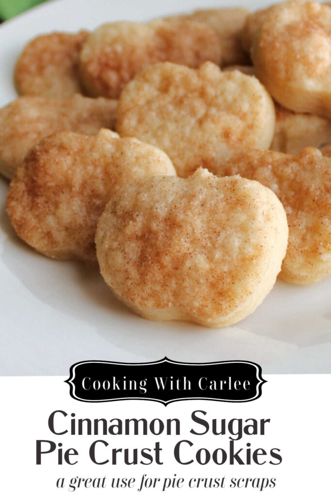 Turn scraps of pie crust into tender flaky cinnamon sugar cookies. They are a fun snack on their own, great dippers for sweet dips or make a pretty garnish for your pie.