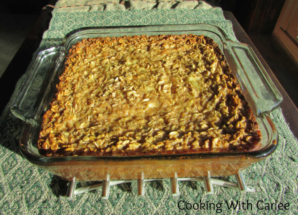 square pan filled with banana baked oatmeal.