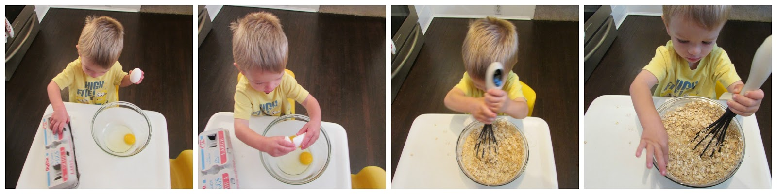 Step by step images of small child putting together baked oatmeal batter from cracking eggs to stirring oatmeal.