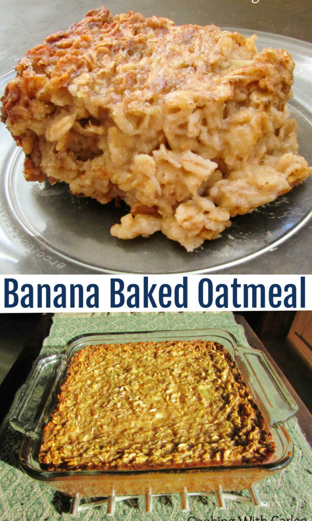 Soft baked oatmeal loaded with bananas and maple syrup. This is a tasty way to start your morning and the leftovers heat wonderfully!