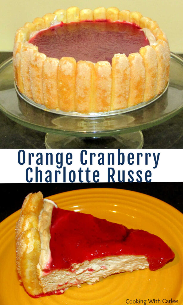 This charlotte russe is loaded with creamy filling, cranberry topping and orange soaked lady fingers. It is elegant, delicious and no bake!