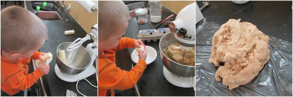 Collage of step by step images of small child making cookie dough in mixer.