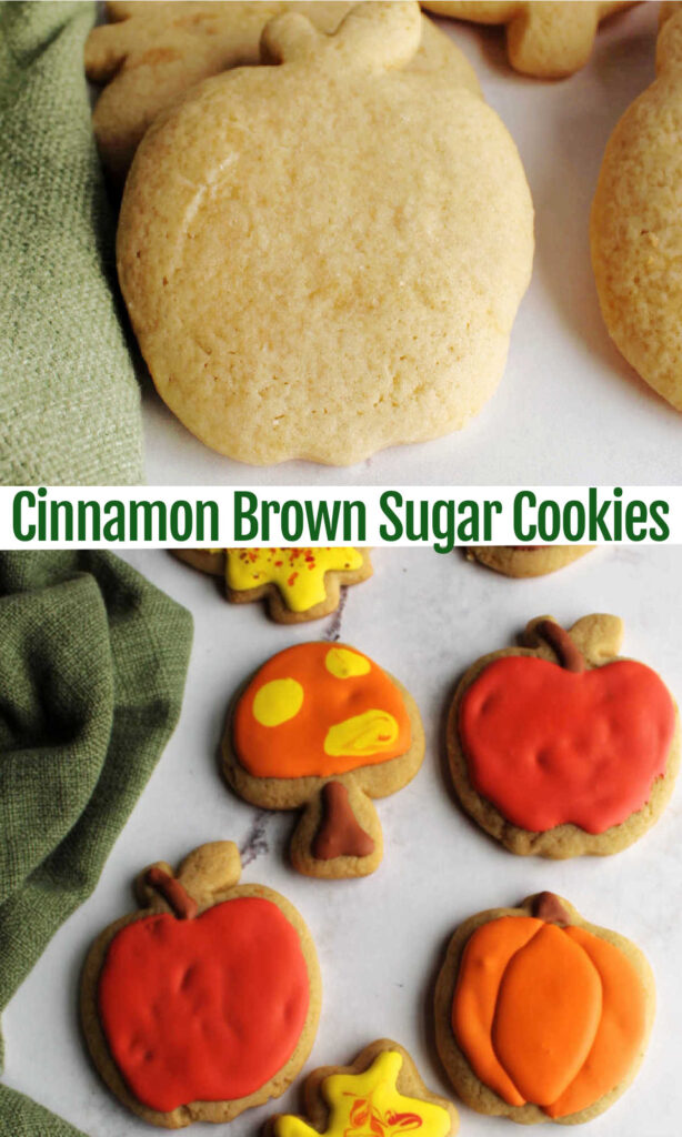 These tender sugar cookies have the goodness of cinnamon and brown sugar baked right in. They are perfect for rolling, cutting into shapes and decorating.