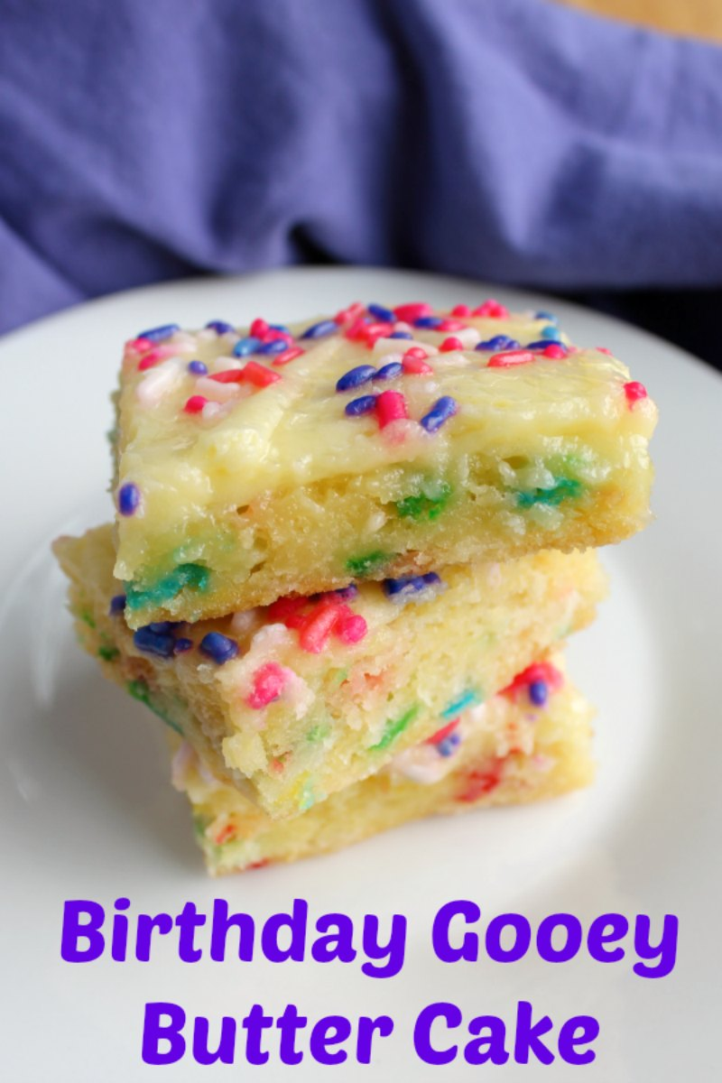 The goodness of gooey butter cake only made more fun with sprinkles! This is a fun birthday or party treat that is super easy to make and oh so gooey and delicious!