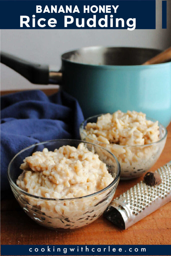 This creamy rice pudding gets its sweet goodness from ripe banana and honey.  It is a great way to turn leftover rice into a simple and delicious dessert.