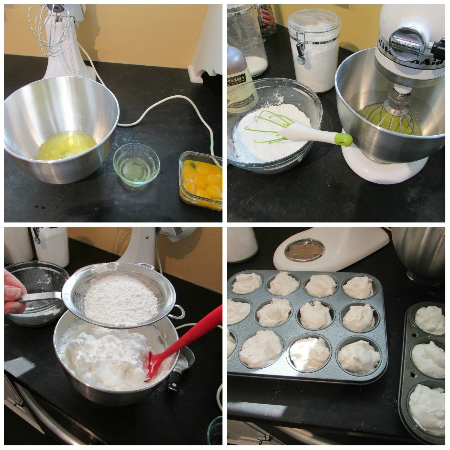 collage showing the step by step process of making angel food cake batter starting with egg whites and ending with batter in cupcake tin.