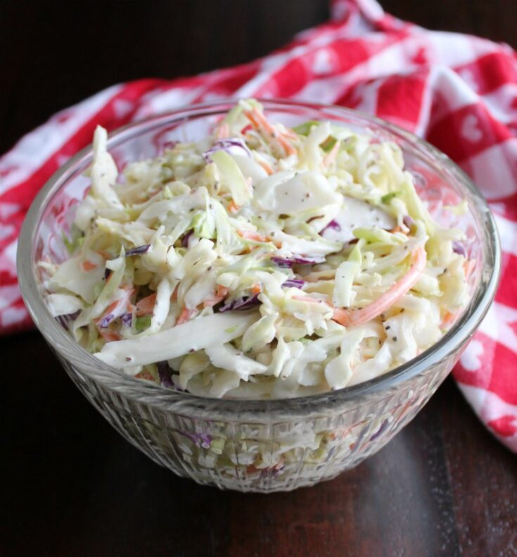 bowl of creamy coleslaw ready to eat.