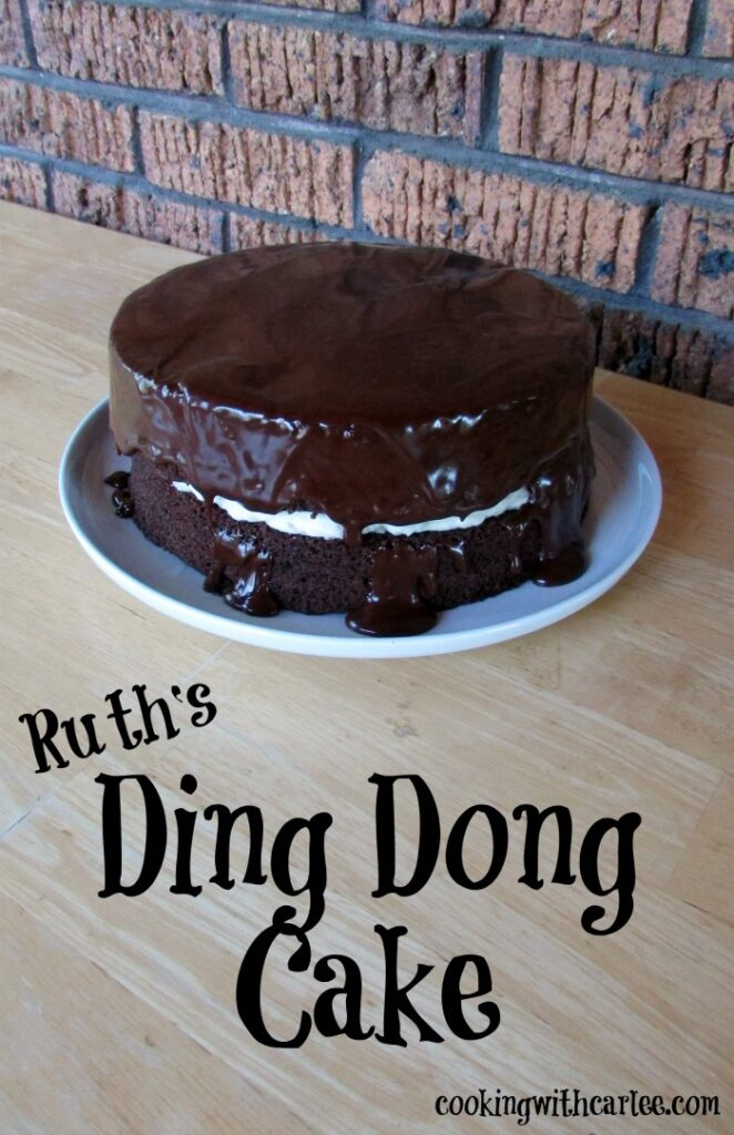 Chocolate cake, fluffy vanilla filling and rich fudge icing come together to make this fun layer cake. It's like a ding dong only bigger!