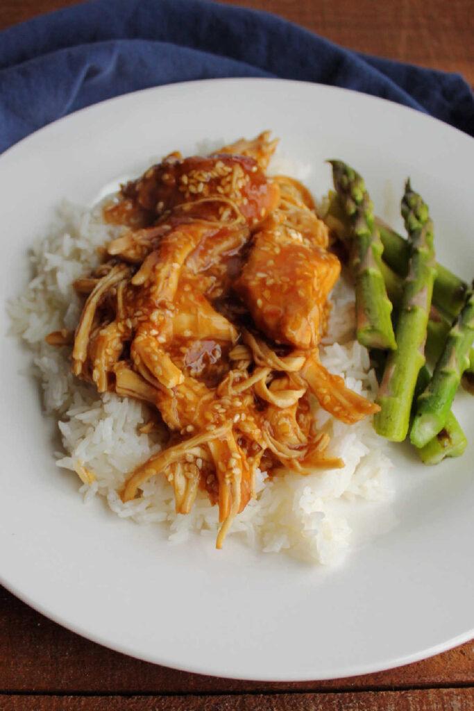 Sticky honey sesame chicken served on rice.