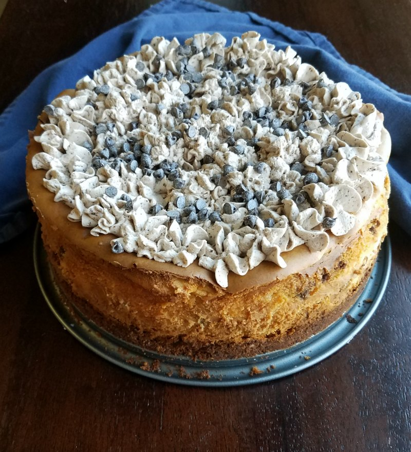 Whole round cheesecake topped with piped stars of mocha whipped cream and sprinkled with mini chocolate chips.
