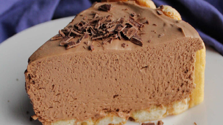 slice of no bake mocha cheesecake