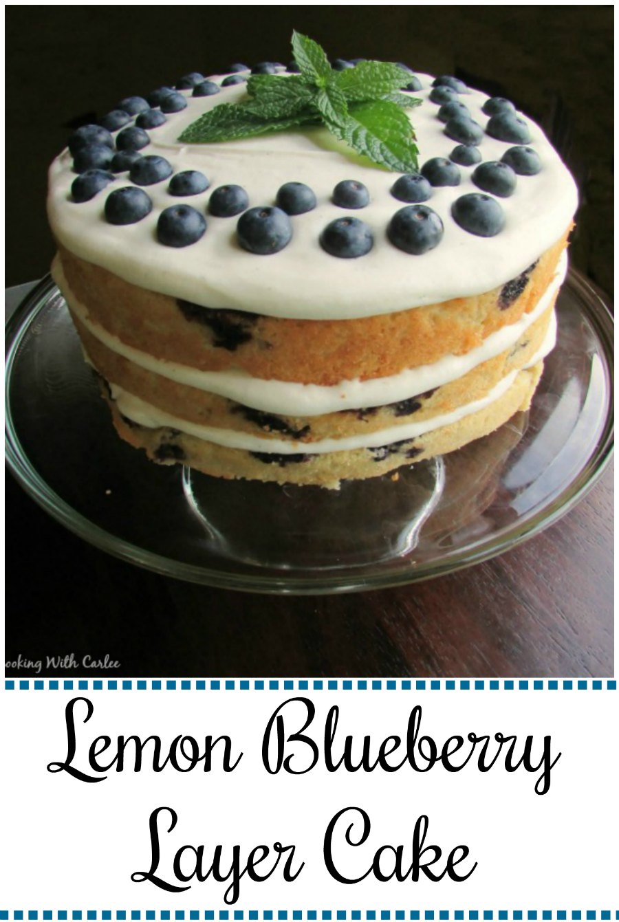 Three layers of luscious lemon cake dotted with blueberries sandwiching cream cheese frosting for an out of this world dessert experience.