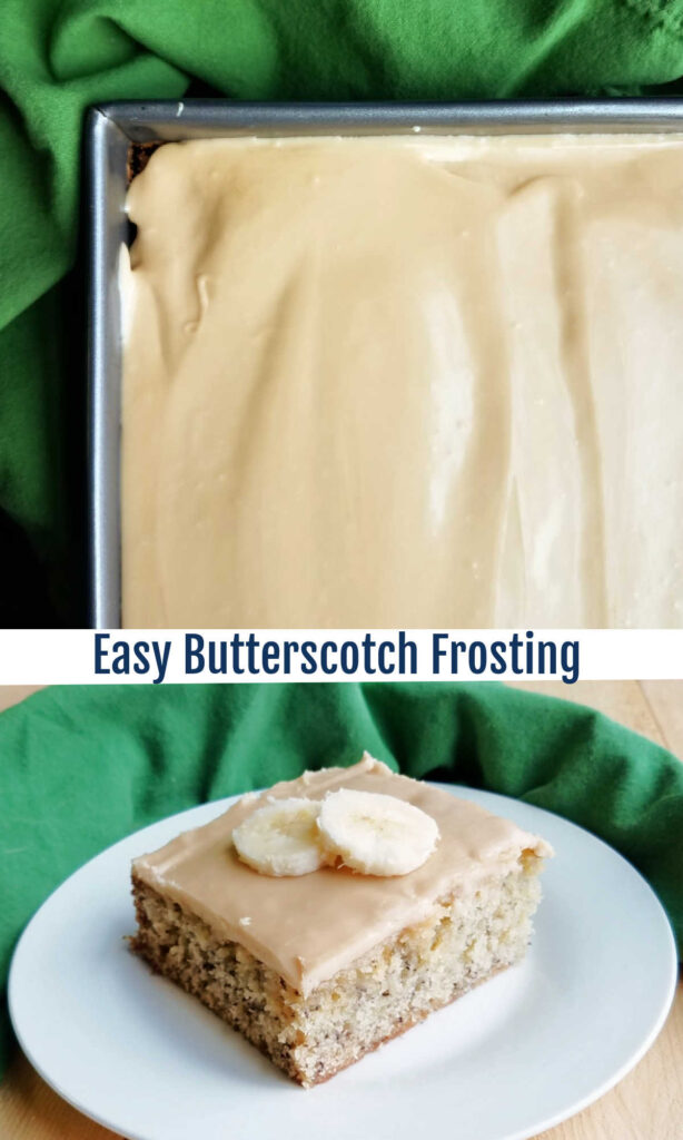Smooth, sweet and creamy, this caramel-y butterscotch frosting is easy to make and is a perfect topper to butter cake, chocolate cake, banana cake and more!