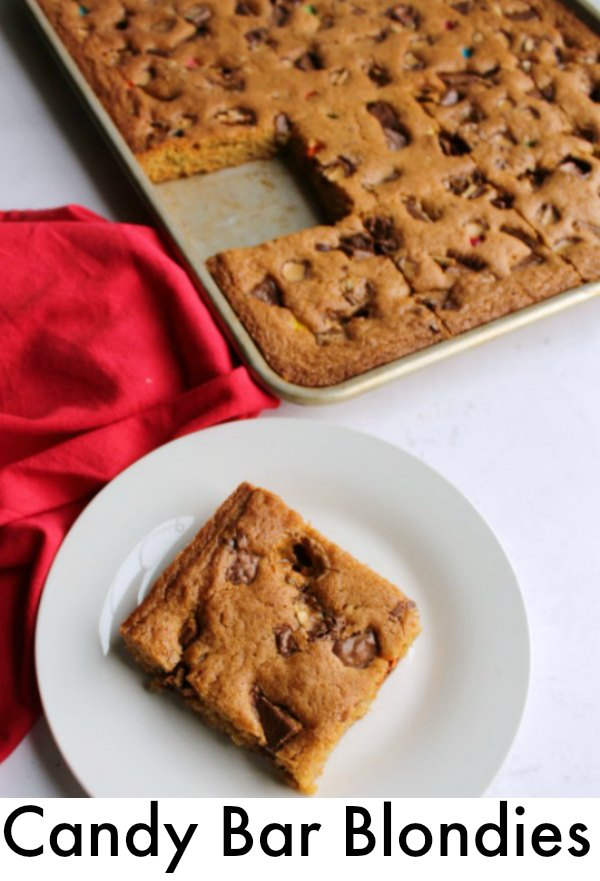 Have some candy bars that are begging to be used? Make a batch of super simple blondies to share. It's a perfect way to use up leftover Halloween, Christmas and Easter candy.