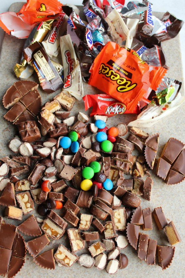 chopped up bits of all kinds of chocolate candies and candy bars.