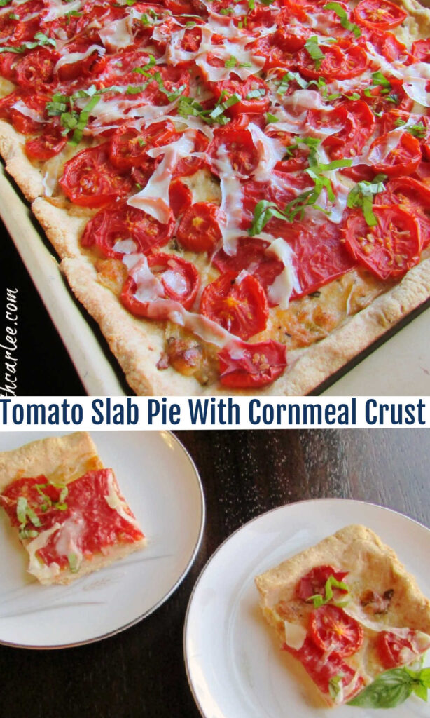 This tomato slab pie is the perfect way to showcase the summer's harvest. The cornmeal and Parmesan laden crust forms the perfect bed for tomatoes, cheese and fresh basil.