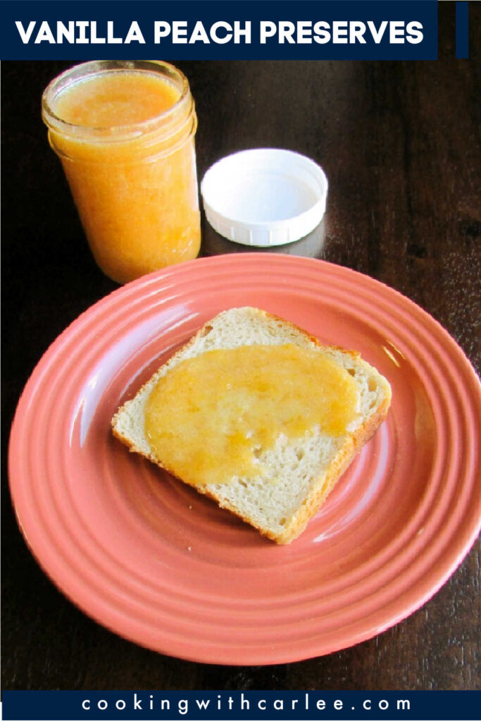 Peach and vanilla come together to make a delicious spread for toast or topping pancakes or waffles. It is easy to make and freezes great too!