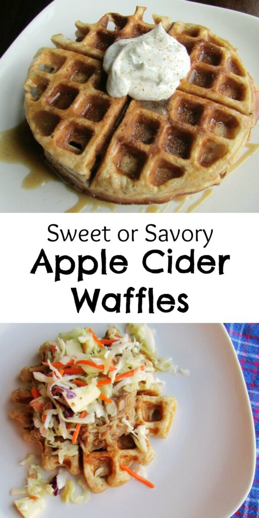 Apple cider waffles can be made sweet or savory. Use them as a base for pulled pork or drizzle them with syrup or caramel.
