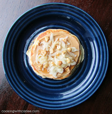 Peanut butter and apple pancake pizza on plate