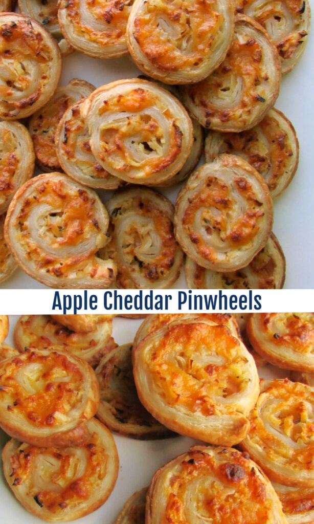 Flaky puff pastry wrapped around a savory filling of apples and cheddar cheese. These fun appetizers are perfect for fall. Plus you can assemble them ahead of time and slice and bake them when you are ready. They were a big hit with our crowd and I am sure they will be with yours as well.