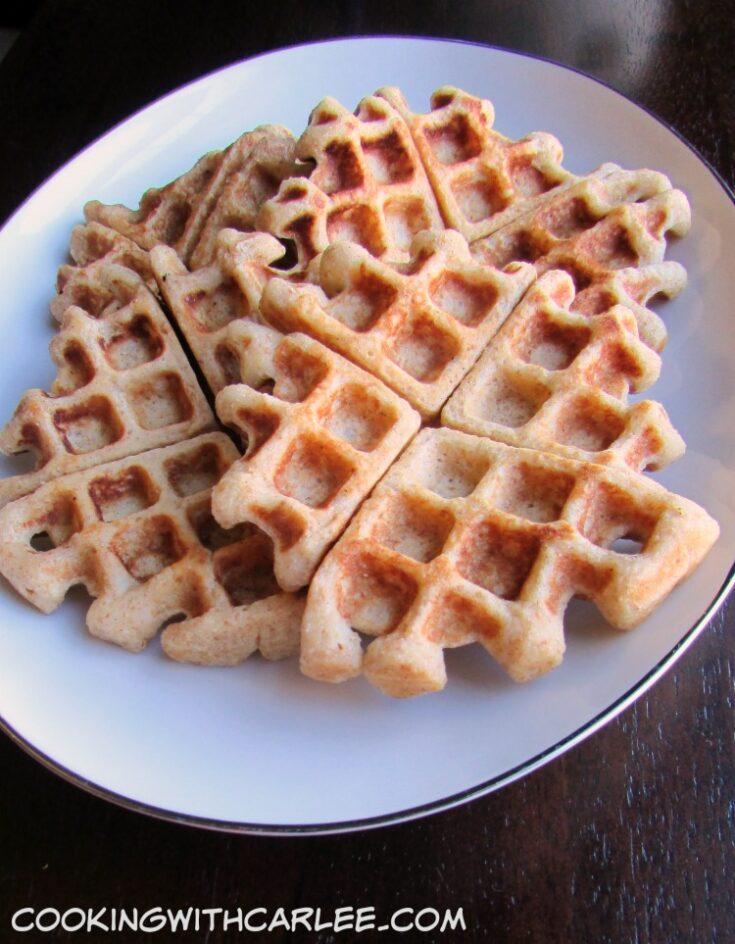 Platter of golden apple cider waffles.