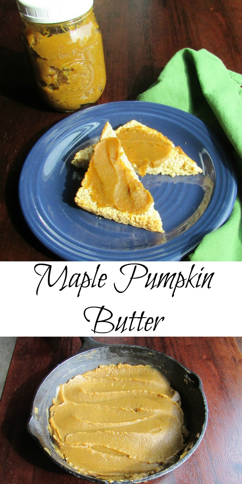 Rich and smooth pumpkin butter sweetened with maple syrup is the perfect spread for toast or biscuits. It is also great as a building block for desserts. Luckily it is easy to make too!
