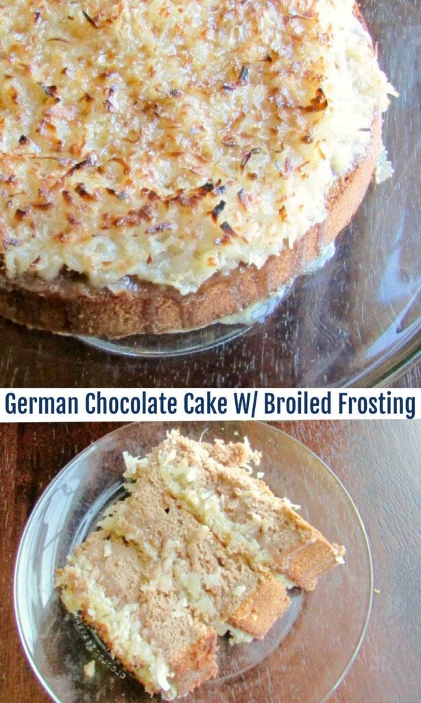 My great grandma topped her German chocolate cake with a coconut frosting, but it's different than what you may be thinking.  It's a broiled coconut frosting! You just have to try this!