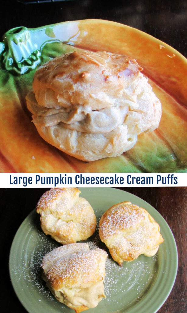 Cream puffs are easier to make than you might think. These slightly oversized pastry shells are filled with a pumpkin cheesecake cream for a perfect dessert!