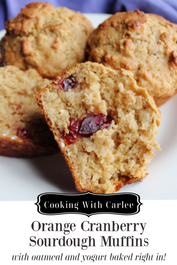 Orange and cranberries come together with just a hint of spice in these oatmeal sourdough muffins. They are a perfect grab and go breakfast or fun healthier brunch treat.