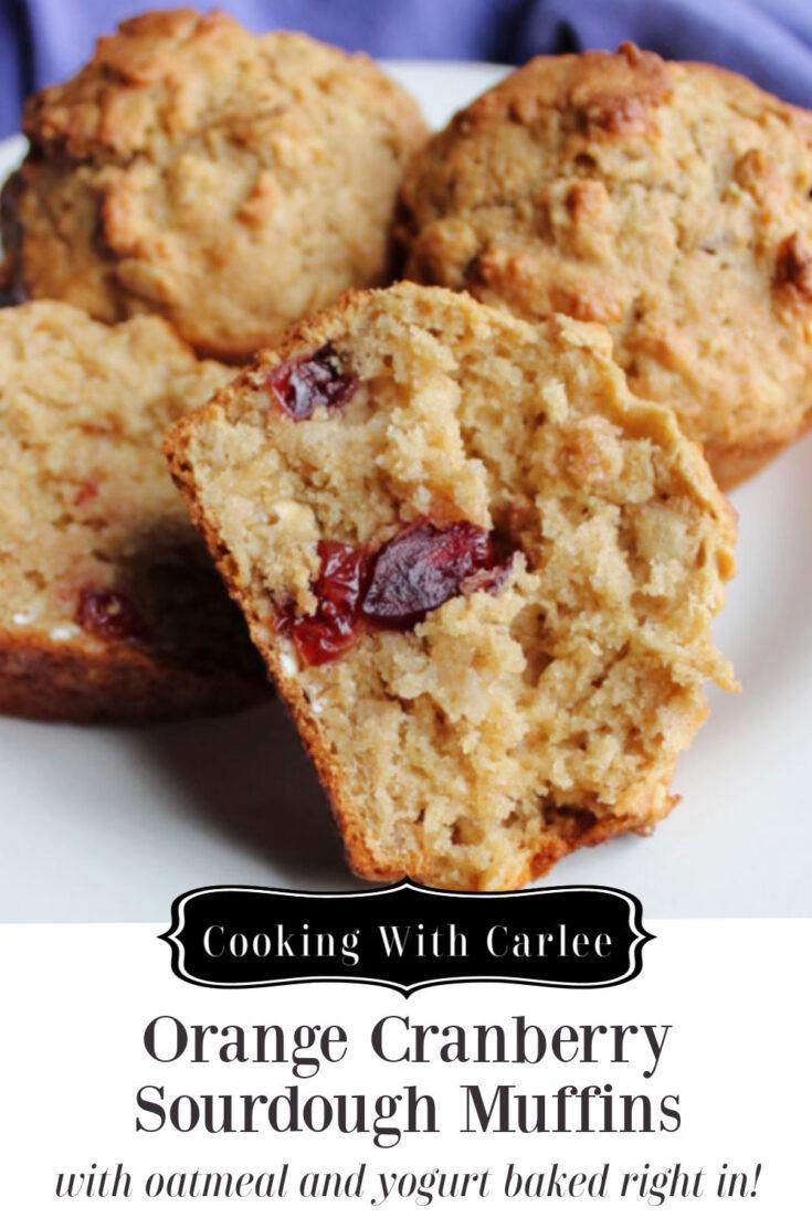 orange cranberry sourdough muffins pin
