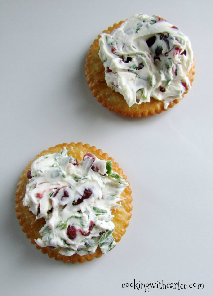 cream cheese dotted with bits of dried cranberries, herbs and jalapeno spread on crackers.