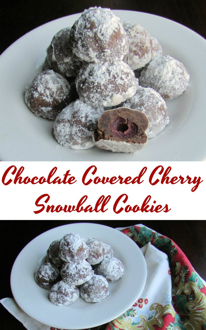 These festive cookies feature a dark chocolate snowball cookie dough wrapped around a maraschino cherry for a fun Christmas cookie unlike any other! They aren't too sweet and just the right size for a couple bites and a smile!