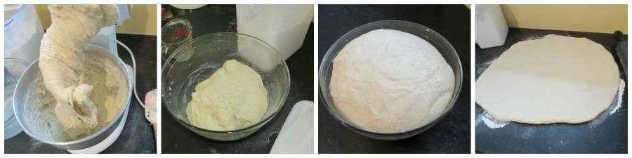 collage of various stages of potato dough making for cinnamon buns