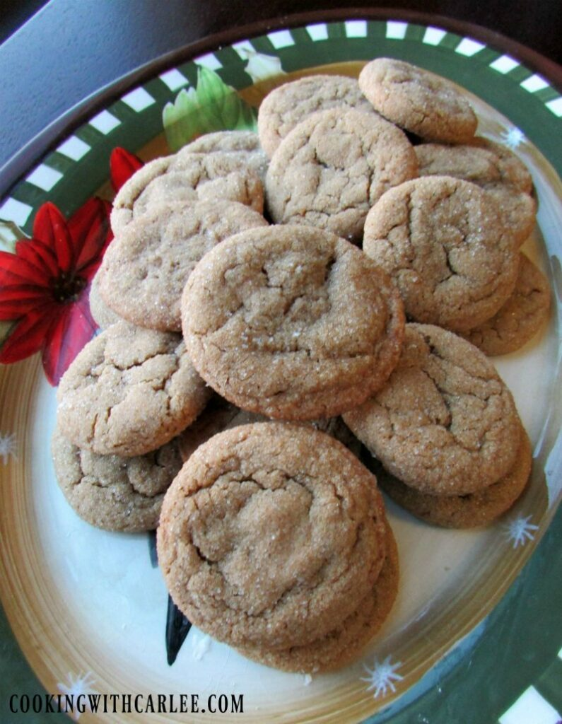 platter of chewy molasses spice cookies.