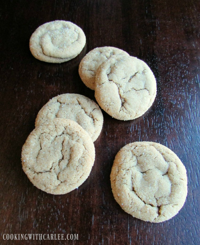 Crinkly soft brown molasses spice cookies.