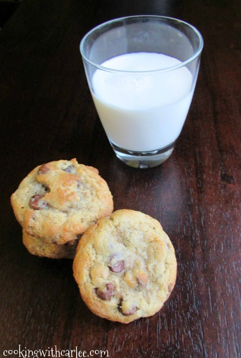 chocolate chip cookies with a glass of milk.