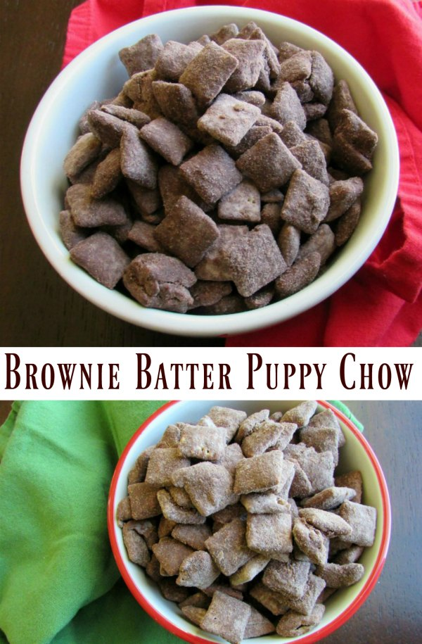 That childhood favorite snack of yours just got an upgrade! Whether you call it puppy chow, muddy buddies or just plain good, you have to try this brownie batter version!