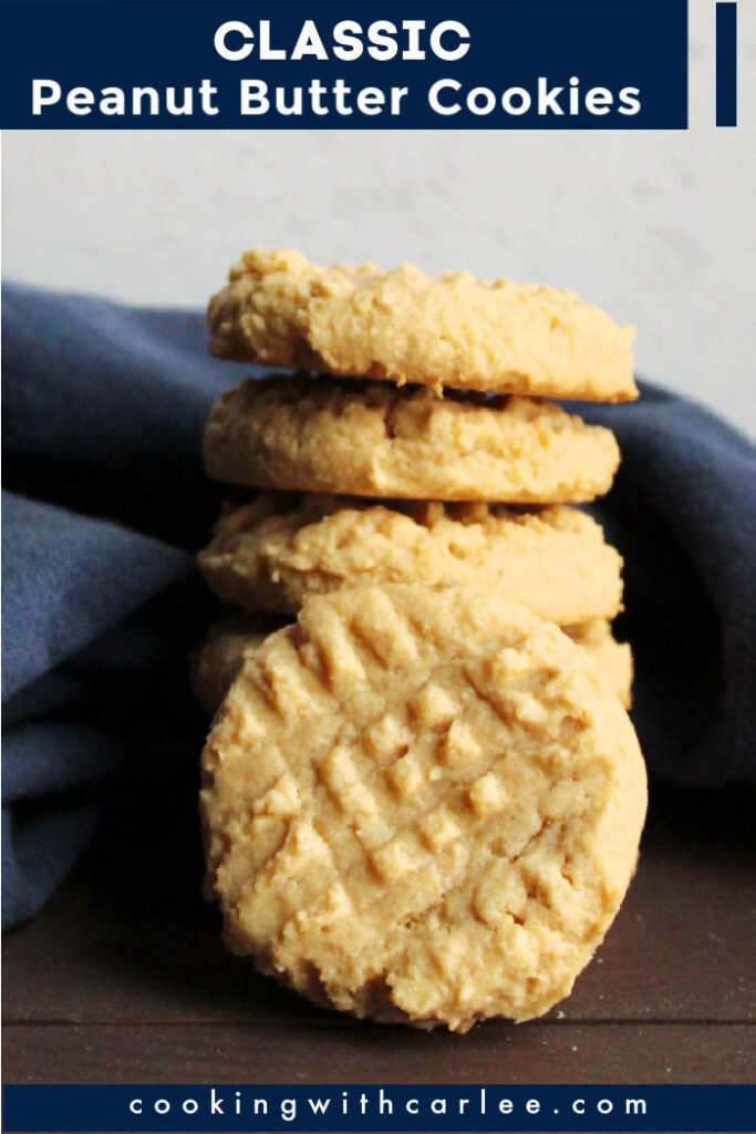 Delightful peanut butter cookie goodness.  This recipe is straight out of grandma's recipe box and can be baked with a chewy or crisp texture. Pour a glass of milk and dive in!